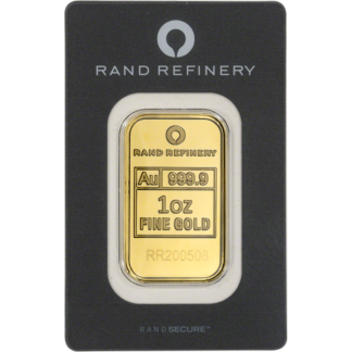 1 oz. Gold Bar Rand Refinery with Black Assay